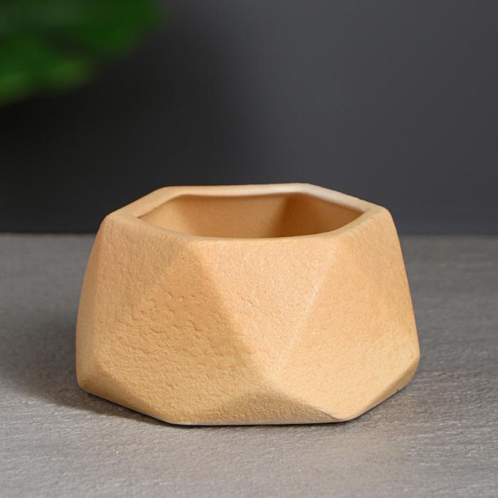 """Кашпо для кактусов и суккулентов """"Оригами"""", 0.3 л, кожа, оранжевое - фото 854389"""