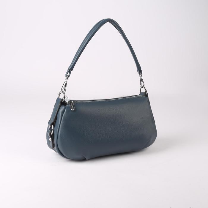 Сумка женская, 2 отдела на молнии, наружный карман, цвет синий