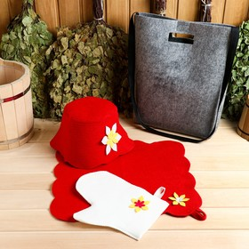 """Набор банный портфель сумка красная шапка,коврик,рукавица """"Рэд"""" - фото 7318006"""