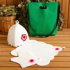 """Набор банный сумка зеленая шапка,коврик,рукавица """"Цветок"""" - фото 763528"""