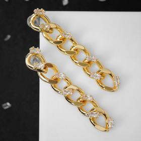 """Earrings """"Chain"""" links with rhinestones, color white in gold"""
