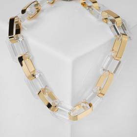 Chain necklace semi-transparent links, white in gold