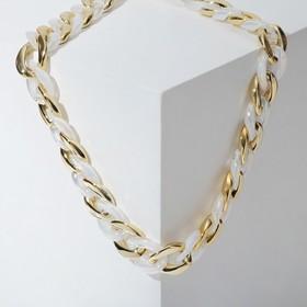 """Колье """"Цепь"""" самоцвет звеньев, цвет белый в золоте, L=46 см"""