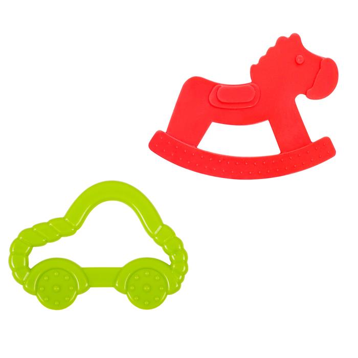 Прорезыватель силиконовый «Лошадка и машинка», набор 2 шт.