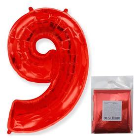 """Шар фольгированный 40"""" «Цифра 9», цвет красный"""