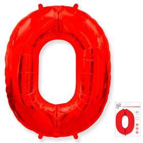 """Шар фольгированный 40"""" «Цифра 0», цвет красный"""