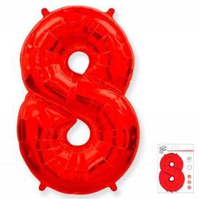 """Шар фольгированный 40"""" «Цифра 8», цвет красный"""