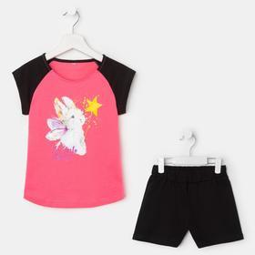 Комплект (футболка, шорты) для девочки, цвет розовый/зайки, рост 122