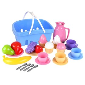 A set of dishes in a basket (14pcs)