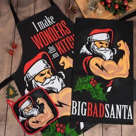 """Набор кухонный """"Big Bad Santa"""" фартук, полотенце, прихватка"""