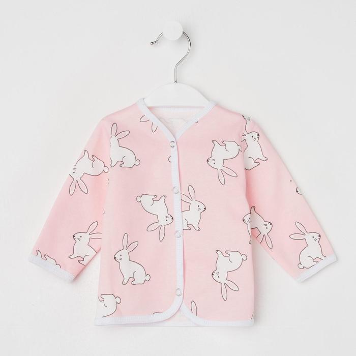 Кофточка детская на кнопках, цвет розовый/заяц, рост 56 см - фото 2032212