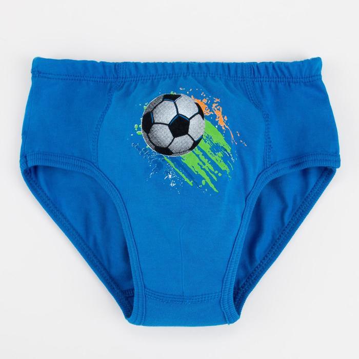 Трусы слипы для мальчика, цвет синий/мяч, рост 116-122 см (30) - фото 76642170