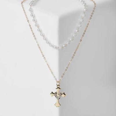 "Pendant ""Chain"" string of pearls, cross with heart, color white in gold, 35 cm"