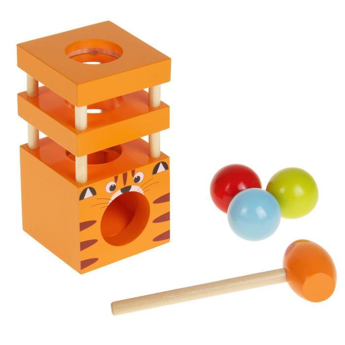 Стучалка «Животные», молоточек , три шарика, виды МИКС