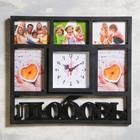 "Wall clock, series: Photo, ""Love"" 5 photos, smooth running 41x46 cm, 1 AA, black"