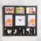 "Wall clock, series: Photo, ""Family"", 5 photos, smooth running 41x46 cm, 1 AA, black"