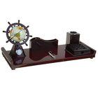 Набор настольный «Штурвал»: часы, глобус, подставка для ручек, визитница, блок для бумаги, держатель