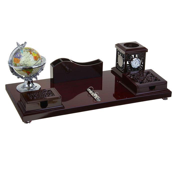 Набор настольный «Ренессанс»: глобус, часы, подставка для ручек, визиток, 2 блока для бумаги, держатель