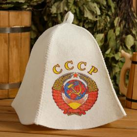 """Cap for bath and sauna """"USSR"""", printed, white"""