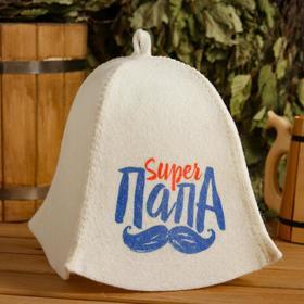 "Hat for bath and sauna ""Super Papa"", printed, white"