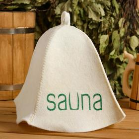 """Cap for bath and sauna """"SAUNA - high-quality printed print on the cap"""", with print, white"""
