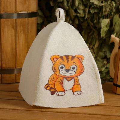 "Cap for bath and sauna children's ""Tiger cub"", printed, white"
