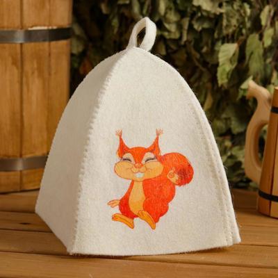 "Cap for bath and sauna children's ""Squirrel"", printed, white"