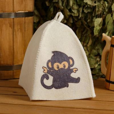 "Cap for bath and sauna children's ""Monkey"", printed, white"