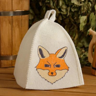 "Hat for bath and sauna children's ""Chanterelle"", printed, white"