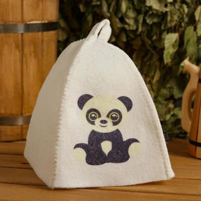 "Children's bath and sauna hat ""Panda"", printed, white"