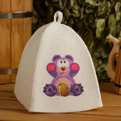 "Bath and sauna hat for children ""Bear"", printed, white"