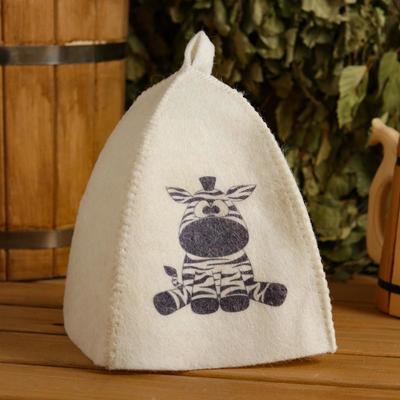 Zebra children's bath and sauna hat, printed, white
