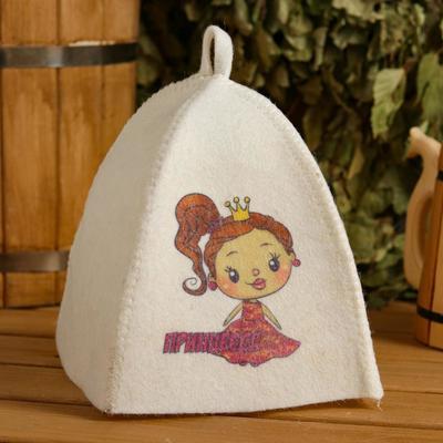 "Bath and sauna hat for children ""Princess"", printed, white"