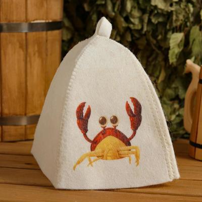 "Children's bath and sauna hat ""Crab"", printed, white"