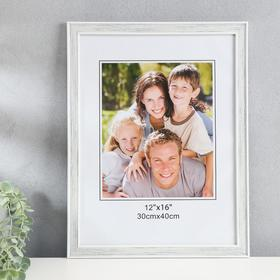 "Photo frame plastic 30x40 cm ""Weaving"" gray with white outline 43,5x33,5 cm"