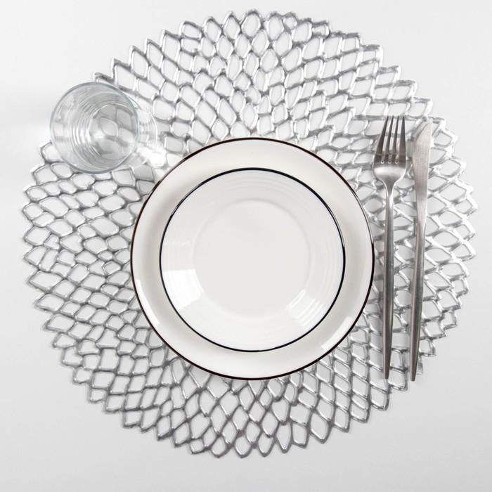 """Set of kitchen napkins 4 PCs """"Leia"""" 38x38 cm, silver color"""
