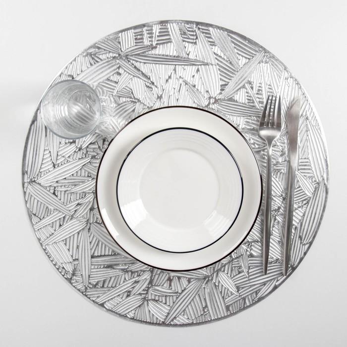 """Set of kitchen napkins 4 PCs """"Leaves"""" 38x38 cm, silver color"""