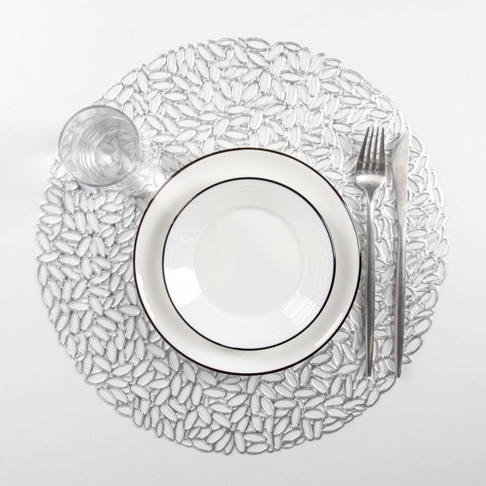 """Set of kitchen napkins 4 PCs """"Manifest"""" 38x38 cm, silver color"""