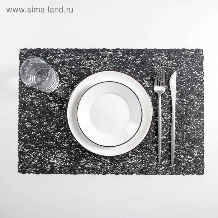 "Set of kitchen napkins 4 PCs ""Straw"" 30x45 cm, color black"