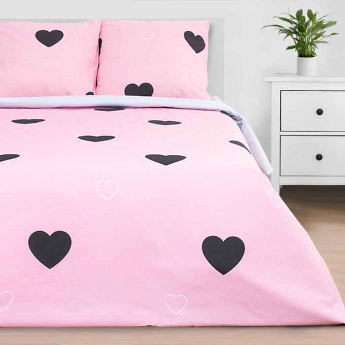 """Постельное белье """"Этель"""" дуэт Pink heart 143*215 см - 2 шт, 240*220 см, 70*70 см -2 шт"""