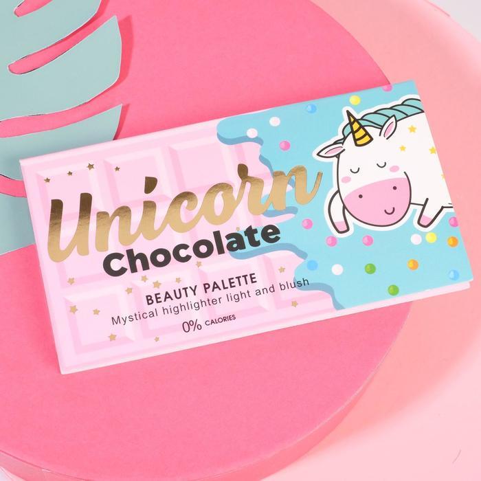 Палетка для невероятного макияжа Unicorn Chocolate, румяна и хайлайтер