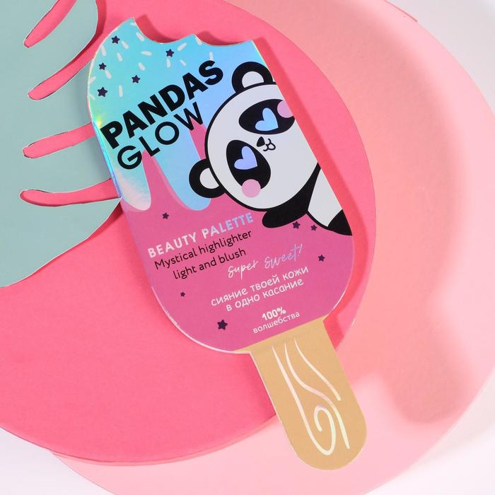 Палетка для невероятного макияжа Pandas Glow, румяна и хайлайтер