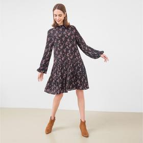 Платье женское, цвет чёрный/цветы, рост 170 см, размер 48 (L)