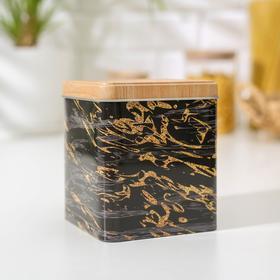 Банка для сыпучих продуктов «Золотой мрамор», 12×10×10 см, цвет чёрный