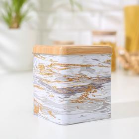 Банка для сыпучих продуктов «Золотой мрамор», 12×10×10 см, цвет белый