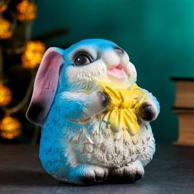 "Копилка ""Кролик с бантиком"" голубой, 15х13х15см"