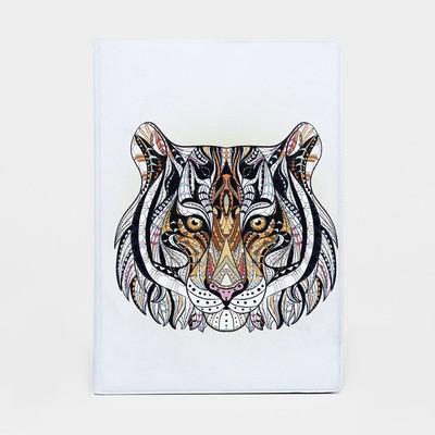 """Passport cover 9,5*0,5*13,5 cm, """"Tiger"""", white"""