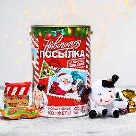 Сладкий детский подарок «Новогодняя посылка»: конфеты шоколадные, игрушка