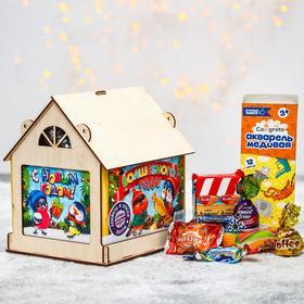 Сладкий детский подарок «Волшебного года»: конфеты 1000 г, краски 12 цветов, кормушка