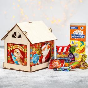 Сладкий детский подарок «Дед Мороз»: конфеты 1000 г, краски 12 цветов, кормушка